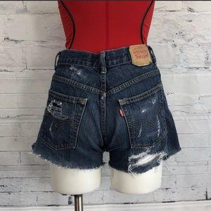 Levi 505's Jean Shorts Cut Off Distressed     1185